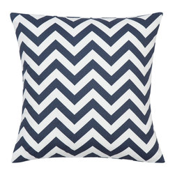 Look Here Jane, LLC - Chevron Navy Pillow Cover - PILLOW COVER