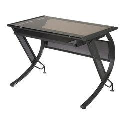 Office Star - Office Star Horizon Desk with Keyboard in Black / Bronze Glass - Office Star - Computer Desks - HZN25