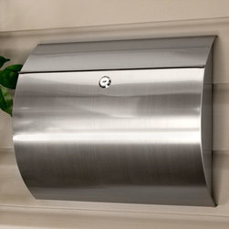 Aura Locking Wall-Mount Mailbox - Stainless Steel - The semi-circular Aura Stainless Steel Mailbox features a mail slot under the roof flap and a large capacity. Comes with a chrome lock with two keys.