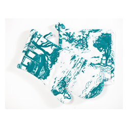 Working Class Studio - Savannah Toile Collection - Oven Mitt and Pot Holder - Teal - Handle your pots and pans with a bit more panache. This pot holder and oven mitt set in a charming toile pattern makes you look cuter as you cook.