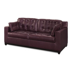 EuroLux Home - New Leather Sofa Crafted USA Button Back - Product Details