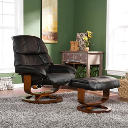 Upton Home - Upton Home Francis Black Leather Recliner and Ottoman - Lounge in comfort with this black leather recliner with ottoman set. Made of birch wood and featuring a 360-degree swivel,this recliner is sturdy and ergonomic. An included ottoman and side table make kicking back and relaxing effortlessly simple.