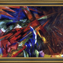 "Art MegaMart - Franz Marc Animal Destinies (Trees Show their Rings  Animals their Veins) - 18"" x 24"" Franz Marc Animal Destinies (also known as The Trees Show their Rings  the Animals their Veins) framed premium canvas print reproduced to meet museum quality standards. Our Museum quality canvas prints are produced using high-precision print technology for a more accurate reproduction printed on high quality canvas with fade-resistant, archival inks. Our progressive business model allows us to offer works of art to you at the best wholesale pricing, significantly less than art gallery prices, affordable to all. This artwork is hand stretched onto wooden stretcher bars, then mounted into our 3 3/4"" wide gold finish frame with black panel by one of our expert framers. Our framed canvas print comes with hardware, ready to hang on your wall.  We present a comprehensive collection of exceptional canvas art reproductions by Franz Marc."