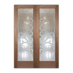 """Interior Glass Doors Frosted Obscure - Seville 3D I - CUSTOMIZE YOUR INTERIOR GLASS DOOR!  Interior glass doors ship for just $99 to most states, $159 to some East coast regions, custom packed and fully insured with a 1-4 day transit time.  Available any size, as interior door glass insert only or pre-installed in an interior door frame, with 8 wood types available.  ETA will vary 3-8 weeks depending on glass & door type.........Block the view, but brighten the look with a beautiful interior glass door featuring a custom frosted glass design by Sans Soucie!   Select from dozens of sandblast etched obscure glass designs!  Sans Soucie creates their interior glass door designs thru sandblasting the glass in different ways which create not only different levels of privacy, but different levels in price.  Bathroom doors, laundry room doors and glass pantry doors with frosted glass designs by Sans Soucie become the conversation piece of any room.   Choose from the highest quality and largest selection of frosted decorative glass interior doors available anywhere!   The """"same design, done different"""" - with no limit to design, there's something for every decor, regardless of style.  Inside our fun, easy to use online Glass and Door Designer at sanssoucie.com, you'll get instant pricing on everything as YOU customize your door and the glass, just the way YOU want it, to compliment and coordinate with your decor.   When you're all finished designing, you can place your order right there online!  Glass and doors ship worldwide, custom packed in-house, fully insured via UPS Freight.   Glass is sandblast frosted or etched and bathroom door designs are available in 3 effects:   Solid frost, 2D surface etched or 3D carved. Visit our site to learn more!"""