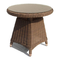 Wicker Paradise - Outdoor Wicker Round End Table with Glass - Use this outdoor wicker end table to rest your book, sunglasses or Margarita! Combine with other treasured pieces from our Bayshore collection.