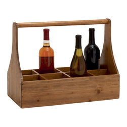 Unique Styled Attractive Wood Wine Basket - Description: