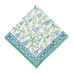 Origin Crafts - Pagoda blue/green napkins (set of 4) - Pagoda Blue/Green Napkins (Set of 4) Our East Asia inspired Pagoda pattern is a perfect fall tabletop addition. Block printed in cool shades of blue and green, they're sure to be a nice addition to any dinner party. 100% cotton . Machine wash cold, tumble dry low, warm iron as needed. Made in India.