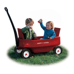 "Radio Flyer - Pathfinder Wagon - This is the ultimate Radio Flyer plastic wagon design. This version boasts major storage capacity, molded cup holders for refreshments, and exclusive rubber tires to make the going smooth and quiet. The Pathfinder even features seatbelts for safety, plus seats that fold up for a comfy ride, and down to a flatbed for hauling those heavy loads. As the winner of multiple awards, this wagon is clearly an exceptional toy no child or family should be without. Encourage imagination and outdoor play as part of a happy childhood! Features: -Exclusive convertible feature . -Seats fold up for comfortable ride . -Seats fold down for maximum hauling capacity . -Child seat belts . -Super large storage compartment . -4 Molded-in cup holders - accommodates cans, cups, or juice boxes . -Extra-long handle for easy pulling . -Handle folds under for easy storage . -Front axles designed for non-tip turning . -Dura-Tread rubber tires for super soft, super quiet ride . -Awards: Oppenheim Toy Portfolio Gold Seal Award, The National Parenting Center's Seal of Approval, National Parenting Publications Gold Award Winner, Canadian Toy Testing Council's ""Three Star Rating"" . Specifications: -For ages over 18 months . -Body dimensions: 39.25"" x 19"" x 16.5"" . -Wheel dimensions: 8.5"" x 1.5"" . -Weight: 28 lbs ."