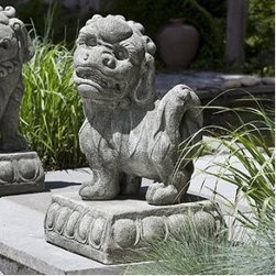 Left-Facing Foo Dog Statue - These wonderful outdoor foo dogs in cast stone can guard your entrance.