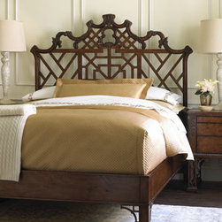 """""""Chloe"""" Bedroom Furniture - A beautiful open-work headboard, with a touch of Chippendale design, gives the Chloe bed eye-catching style.  Crafted with a English Manor finish, it will add elegance to the bedroom.    * King bed, 79""""W x 86.75""""D x 69.25""""T.    * Queen bed, 69""""W x 86.75""""D x 69.25""""T.    * Pricing is for Queen."""