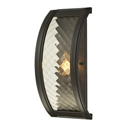 Elk Lighting - Elk Lighting Chandler Collection 1 Light Sconce In Oil Rubbed Bronze - 31450/1 - 1 Light Sconce In Oil Rubbed Bronze - 31450/1 in the Chandler collection by Elk Lighting This series features a crosshatch patterned glass that exudes dazzling light textures.  The glass is held by a heavy metal frame with stepped rings to further enrich the distinction of the design.  Choose between Polished Nickel with clear glass or Oil Rubbed Bronze with champagne glass.    Wall Sconce (1)