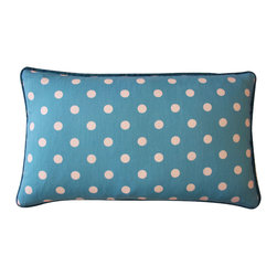 JITI - Small Blue Cotton Pillow - Everything's more fun in polka dots — including this pretty blue pillow. Cheerfully dotted, elegantly piped and boasting a cozy soft feather and down insert, it's a festive addition to your space and a comfy companion for your couch.