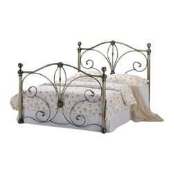 """Acme - Trissa II Antique Brass Finish Queen Headboard and Footboard Set - Trissa II antique brass finish queen headboard and footboard set with antique scrolled ends and round ball post toppers. This set includes the queen headboard and footboard with antique scrolled ends and round ball post toppers (bed frame support rails sold separately). Some assembly required. Measures 50""""H. Also available in Full size."""