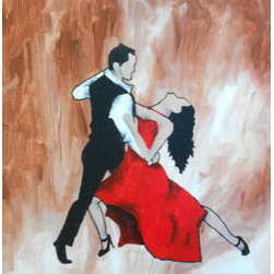 Spicy Salsa Nights (Original) By Kayla Domaszek - One of the greatest human movements is that of the dance.  Two spicy individuals in the painting move along with each other through life.  This red hot painting is perfect for a sitting room or any room that is looking for a soft but modern tone.  Acrylic on canvas.
