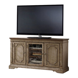 """Hooker Furniture - 62"""" Entertainment Console - White glove, in-home delivery included!  The 62"""" Entertainment Console features two wood doors with adjustable shelves behind each, one wood framed door with seeded glass or wood panel option and two adjustable shelves behind.  One three plug outlet."""