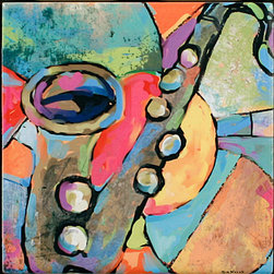 "Tile Art Gallery - Music III Ceramic Accent TIle, 12 in - This is a beautiful sublimation printed ceramic tile entitled ""Music III"" by artist Shirley Novak. The printed tile displays a Clarinet and a colorful abstract background. Pricing starts at just $14.95 for a 4.25 inch tile."