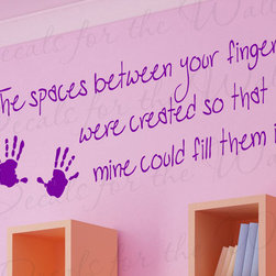 Decals for the Wall - Wall Decal Quote Sticker Vinyl Art Lettering Love Space Between Your Fingers L70 - This decal says ''The spaces between your fingers were created so that another's could fill them in''
