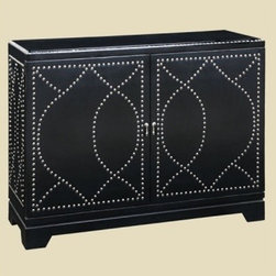Malaga Nailhead Console - The chrome nailheads make this classic cabinet into a more modern and interesting piece.