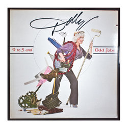 """Glittered Dolly Parton 9 to 5 Album - Glittered record album. Album is framed in a black 12x12"""" square frame with front and back cover and clips holding the record in place on the back. Album covers are original vintage covers."""