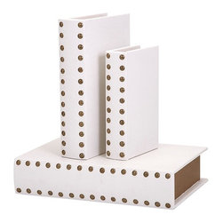 "Imax - White Studded Essentials Celebrations Book Boxes - Set of 3 - *Dimensions: 1.75-2.25-2.75""h x 5-6.75-8.75""w x 8-10.5-12.5"""