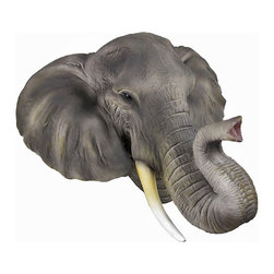African Elephant Head Mount Wall Statue Bust - This awesome, cold cast resin replica African Elephant head wall mount is a perfect addition to any jungle themed room. The head measures 17 inches tall, 19 1/2 inches wide and 10 1/4 inches deep. The detail is incredible, from the wrinkles in his trunk to his hand painted eyes. This elephant`s head is brand new, and makes a great gift for any elephant lover.