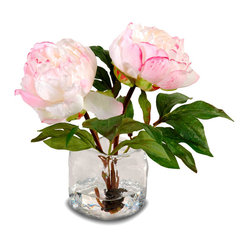 New Growth Designs - Peony Arrangement in Vase, Champagne Pink - What could be prettier than a pair of perfect peonies? A pair of perfect peonies that lasts forever! These simple, stunning silk cuttings in a classic glass vase will lend romantic charm to your favorite setting for happily ever after.
