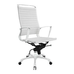 "LexMod - Tempo Highback Office Chair in White - Tempo Highback Office Chair in White - Skip to a beat that your lifes ambitions deserve. Tempo is a supercharged modern office chair that comes outfitted with all the amenities of its more stolid counterparts. The polished chrome-plated aluminum armrests portray a spirit on the rise, even as your arms find themselves properly positioned for the tasks at hand. The ribbed vinyl highback and seat pattern help evenly disperse your bodys weight, while instilling a look that imbues momentum and a love for life. Tempo comes equipped with a tension control knob and tilt lock to further personalize the chair, while the pneumatic chair lever easily adjusts the chairs height. The 360 degree swivel will also keep your inner kid entertained at all times as well. Additionally, the hooded aluminum base comes equipped with five dual-wheeled casters for easy gliding over carpeted surfaces. Whether you are looking to buy one for yourself, or one-hundred for your office, Tempo is a chair that enhances productivity in the most natural ways possible. Set Includes: One - Tempo Highback Office Chair Modern high back office chair, Chrome-plated aluminum frame, Ribbed vinyl cushioning, Tension control knob and lock, 360 Degree Swivel, Five dual-wheeled casters, Fully height adjustable Overall Product Dimensions: 19""L x 28.5""W x 39.5 - 42""H Seat Dimensions: 19""L x 18""W x 19.5 - 22""H Armrest Dimensions: 0.5""W x 27.5 - 30""Hbrase Dimensions: 21.5""L x 22""WBACKrest Height: 28""H - Mid Century Modern Furniture."