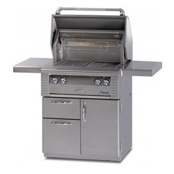 Alfresco - Alfresco 30-in Grill on Deluxe Cart w One Sear Zone | NG - This Alfresco Gas Grill features One high-temp stainless steel main burner and one Sear Zone ceramic infrared burner producing 55000 BTUs Integrated rotisserie with built-in motor & 15000 BTU infrared burner smoker with 5000 BTU dedicated burner & oversize wood chunk drawer 542 sq. In. Actual grilling area plus four position adjustable warming rack Dual integrated high-intensity halogen work lights and User-friendly push button ignition with sealed 9v power source. This gas grill also includes 30 Inch Freestanding Grill Cart with (2) Access Doors. Alfresco ALX2-30 AG-30C (All Conventional Burners) shown - cooking grids differ on actual grill.