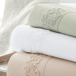 Arcadia Sheet Set - Inspired by a textile our merchants fell in love with in Saint-Rémy-de-Provence, Arcadia is beautifully detailed with scrolling appliqué embellishment along the double flange of the flat sheets and pillowcases. Offered in a palette of restful neutrals, this sophisticated collection is fashioned from of silky-smooth, 300-thread-count cotton percale; a special Biofinish gives it a luxuriously soft hand.