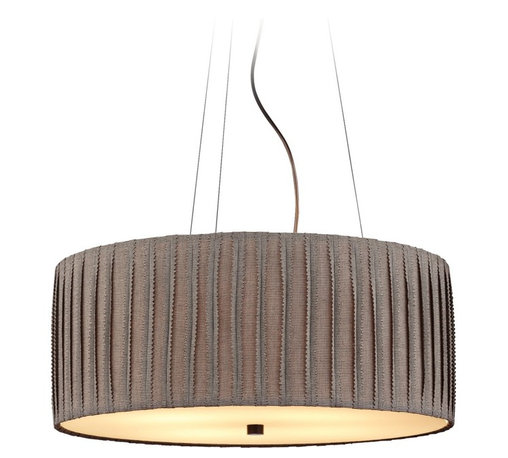 """LBL Lighting - Traditional LBL Cato 4-Light 20"""" Wide Suspension Pendant Light - Bring some elegant style to any space with the Cato suspension style pendant from LBL Lighting. Gray shade hangs delicately from wires. Vertical seam detailing gives the piece texture. An inner opal glass diffuser creates a warm radiant glow. Bronze finish details complete the design. From the Cato collection. Gray fabric drum shade with vertical detailing. Bronze finish. Opal glass diffuser. Includes four 75 watt medium base E26 bulbs. 20"""" wide. 8"""" high. Includes 6 feet of cord.  From the Cato collection.  Gray fabric drum shade with vertical detailing.  Bronze finish.  Opal glass diffuser.  Includes four 75 watt medium base E26 bulbs.  20"""" wide.  8"""" high.  Includes 6 feet of cord."""