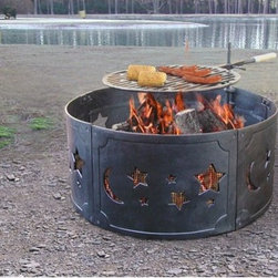 "Landmann - Stars and Moon Fire Ring - There is no better way to keep warm or cook in the outdoors than with this fire ring. Ideal for keeping camp fires contained this is a great product to have around. A full-size enamel cooking grate is included with swing arm and wood handle with the cast iron fire ring. Despite its large size, the fire ring breaks down for easy storage. A beautiful stars and moon design wrap around the fire ring for an atmospheric look. Features: -Steel ring made from 102 mm steel.-Sturdy, 4mm cast iron construction.-Please Note: Item should be placed on a brick, stone or concrete surface to prevent fire hazards.-Distressed: No.-Finish: Black.-Gloss Finish: No.-Material: Cast Iron.-Hardware Material: Steel.-Tabletop Fireplace: No.-Fuel Type: Wood.-Plug In: No.-Fire Bowl Filler Included: No.-Folding: Yes.-Heat Resistant Coating: Yes.-UV Protected: No.-Rust Resistant: No.-Fade Resistant: No.-Suitable For Use On Wooden Surface: No.-Log Grate Included: No.-Spark Screen Included: No.-Snuffer Included: No.-Fire Poker Included: No.-Safety Ring: Yes.-Built in Cooking Area: Yes -Cooking Grate Included: Yes.-Adjustable Cooking Grate: Yes..-Handles: No.-Portable: Yes.-Cover Included: No.-Swatch Available: No.-Commercial Use: No.-Recycled Content: No.-Eco-Friendly: No.Specifications: -360 Degree viewing of the fire.Dimensions: -Overall Product Weight: 55 lbs.-Overall Height - Top to Bottom: 12"".-Overall Width - Side to Side: 26"".-Overall Depth - Front to Back: 26"".Assembly: -Assembly Required: Yes.-Tools Needed: Phillips screwdriver and adjustable wrench.-Additional Parts Required: No.Warranty: -Product Warranty: 90 Days."