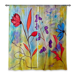 "DiaNoche Designs - Window Curtains Lined by Ruth Palmer Pink Flora II - Purchasing window curtains just got easier and better! Create a designer look to any of your living spaces with our decorative and unique ""Lined Window Curtains."" Perfect for the living room, dining room or bedroom, these artistic curtains are an easy and inexpensive way to add color and style when decorating your home.  This is a woven poly material that filters outside light and creates a privacy barrier.  Each package includes two easy-to-hang, 3 inch diameter pole-pocket curtain panels.  The width listed is the total measurement of the two panels.  Curtain rod sold separately. Easy care, machine wash cold, tumble dry low, iron low if needed.  Printed in the USA."
