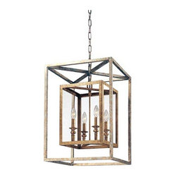 Troy - Morgan Four-Light Lantern Pendant - A bold, dramatic cage, crafted of hand-worked wrought iron, is the highlight of this chic pendant.  Clear glass and a gold and silver leaf finish provide superb final touches.  It includes 4? of chain and 10? of wire. Troy - F9994GSL
