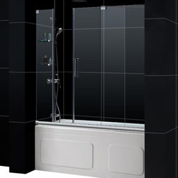 DreamLine - DreamLine SHDR-19605810-04 Mirage 56 to 60in Frameless Sliding Tub Door, Clear 3 - The Mirage tub door delivers a unique design and the look of custom glass at an unbelievable value. Most sliding shower doors require substantial aluminum framing, but the Mirage uses innovative hardware to provide the space-saving benefits of a sliding door without compromising the beauty of a completely frameless glass design. 56 - 60 in. W x 58 in. H ,  3/8 (10 mm) thick clear tempered glass,  Chrome or Brushed Nickel hardware finish,  Frameless glass design,  Width installation adjustability: 56 - 60 in.,  Out-of-plumb installation adjustability: No,  Unique fully frameless sliding shower door design,  One sliding panel with two stationary panels,  Stationary glass panel with two glass shelves,  Aluminum bottom guide rail may be shortened by cutting up to 4in, Aluminum, Brass