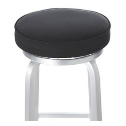 Spin Black Bar Stool Cushion - Cap our stylish Spin counter or bar stools with an added layer of comfort. Elastic-fitted seat cushion stretches for a custom fit and removes as easily for machine washing.