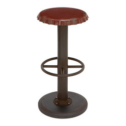 ecWorld - Classic Retro Vintage-Style Weathered Bottle Cap Bar Stool, Red - This bar stool is a fun, funky and contemporary accent for your kitchen or bar area. The seat features a weathered soda cap design and a comfortable round footrest. A great addition for kitchen or bar.