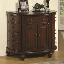 Demilune Cabinet in Dark Walnut - Featuring three drawers and four door cabinets, the chest becomes a valuable item for adding additional storage options to your home. The chest is designed in a traditional manner with turned ball feet.