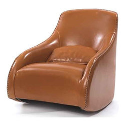 Brown Contemporary Style Baseball Glove Leather Chair - This ultra modern designed chair is from the exclusive country chic furniture collection. It will help you bring about the right character of a bright and modern home furnishing in an informal room setting. The glossy brown finish makes this piece much loved by kids in the home and the large backrest provides adequate support.
