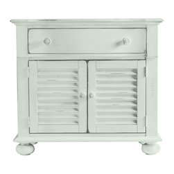 Stanley-Coastal Living - Summerhouse Chest - Bring the colors of the sand and surf indoors for an everyday retreat with the gorgeous Summerhouse Chest from Stanley Coastal Living. The functional, stylish storage and gently distressed hardwoods are painted in a romantic, soft seafoam finish; adding a pop of color that will revitalize any room. Simple and classic, this versatile shutter-door chest proves to be a wonderful addition to any bedroom in need of extra storage space.