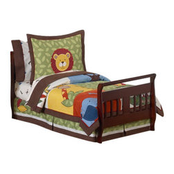 Sweet Jojo Designs - Jungle Time Toddler Bedding Set (5 Pc.) - Jungle Time Toddler Bedding set will help you create an incredible room for your child. This boy bedding set features detailed monkeys, lions, giraffes, crocodiles and elephant jungle themed appliqués and embroidery works. This collection uses the stylish colors of green, blue, orange, brown, yellow, red, and ivory. The design uses cotton, microsuede, corduroy, chambray, denim, and plush minky fabrics that are machine washable for easy care. This wonderful set will fit all crib and toddler beds.