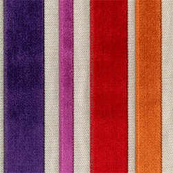 Barnum Carnival Multi Purple/Red Cut Chenille Stripe Upholstery Fabric - This Barnum Carnival fabric is shiny, soft and really colorful. it would make amazing curtains or pillows in an artist's loft.