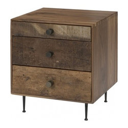 Maxwell End Table - Reclaimed walnut woods, round iron pulls, and tappered steel legs come together in harmony to make our Maxwell Dresser. - See more at: http://www.bobbyberkhome.com/product/whats-new-/10328-71386/bobby-berk-home-maxwell-end-table.html#sthash.LLVAp0F6.dpuf