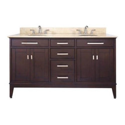 "Avanity - Avanity MADISON-VS60-LE-C Madison 61"" Double Vanity Set in Light Espresso with V - Avanity MADISON-VS60-LE-C Madison 61"" Double Vanity Set in Light Espresso with Vanity Top in Carrera WhiteThe Madison Collection combines function with style. This collection is designed with strong attractive lines and is constructed of solid birch wood and veneer. It features soft-close door hinges and drawer glides. A marble countertop is pre-drilled for two 8"" widespread faucets (not included) and two white 18"" undermount sinks and a 4"" backsplash complete the vanity. Also available is a matching mirror and linen tower to complement the vanity (both sold separately).Please see our Delivery Notes for Freight Shipments for products that are oversized and/or are too heavy to ship UPS ground. Avanity MADISON-VS60-LE-C Madison 61"" Double Vanity Set in Light Espresso with Vanity Top in Carrera White, Features:bull; Dimensions: 61"" w x 21.5"" d x 35"" h"