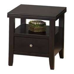 Jofran - Jofran Marlon End Table with Wood Top in Wenge Finish - Jofran - End Tables - 0913 - With a striking design, you can be sure that the Marlon Collection from Jofran will be a contemporary eye catcher in your living room. It features storage drawers and open shelf space for additional storage or display. Constructed of Oak solids and ash veneers in a wonderful rich wenge finish this collection is made with durability and style in mind.