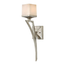 Frederick Ramond - Fredrick Ramond San Simeon 1-Light Sconce - San Simeon combines angular lines with traditional forms for a modern yet classic style. The authentic hand-applied Silver Leaf finish and beautifully painted soft fawn colored glass create a luxurious appeal.