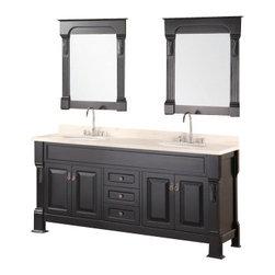 """Design Element - Design Element DEC081B Marcos 72"""" Double Sink Vanity Set - Design Element DEC081B Marcos 72"""" Double Sink Vanity Set with Travertine Stone Countertop in Espresso"""
