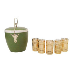 SODL OUT! Vintage Gold Cocktail Glasses and Ice Bucket - $140 Est. Retail - $95 -
