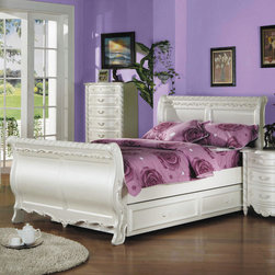 "Acme Furniture - Pearl White Twin Bed with Trundle - Pearl White Twin Bed with Trundle; Dimensions: 48""H"