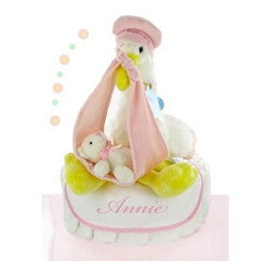Stork Nest One Tier Diaper Cake - Girl