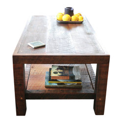Doorman Designs - Oversized Coffee Table Made From New Orleans Barge Board and Reclaimed Wood - This simple, yet rustically elegant coffee table was handmade by me using wood that once held together a New Orleans home damaged during Hurricane Katrina. It's refined design is meant to show off the deep patina and scars left behind after the storm. The continual shelves along the bottom are changeable to your liking. They can be grouped together or removed for more space.